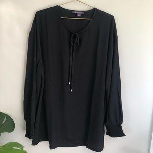 Roaman's plus size black tie neck blouse top